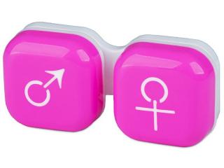 Lens Case man & woman - pink