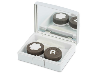 Lens Case with mirror Elegant  - silver