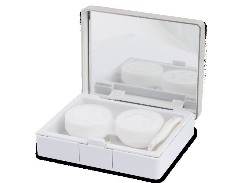 Lens Case with mirror Elegant  - silver