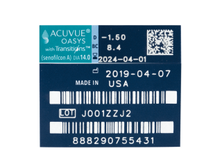Acuvue Oasys with Transitions (6 lenses)
