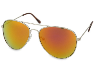 Sunglasses Silver Aviator - Pink/Orange